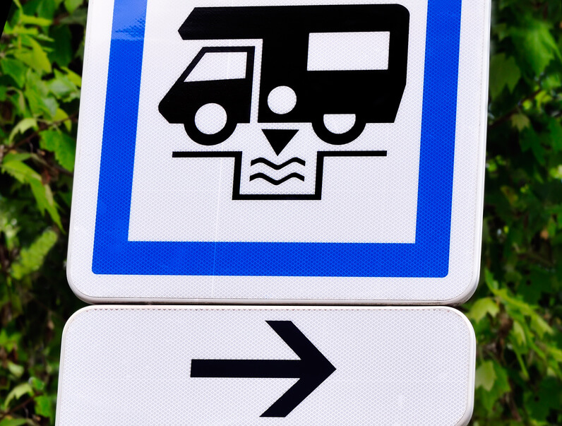 vacances,panneau indication,vidange camping-car,