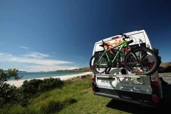 Britz Trailblazer - Coromandel, back view with bikes