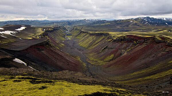 Die Vulkanspalte der Eldgjá-Schlucht
