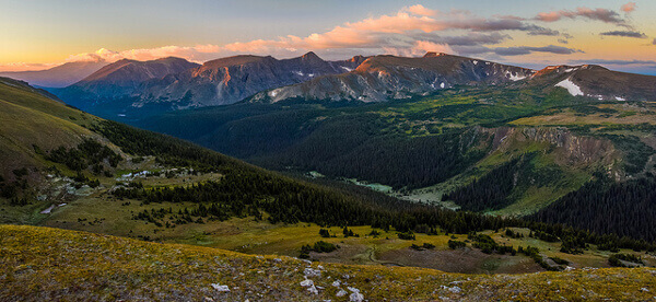 Rocky Mountains National Park bei Sonnenuntergang