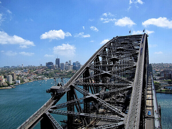 Ausblick vom Brückenbogen der Sydney Harbour Bridge