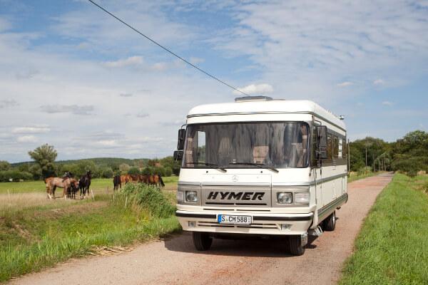 Wohnmobil und eine Weide mit Pferden