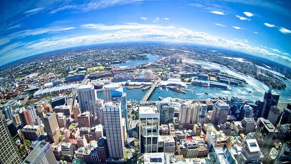 Panoramablick vom Sydney Tower auf die gesamte Stadt