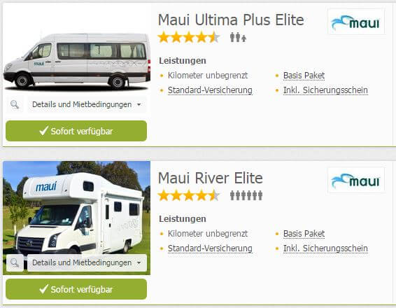 maui Elite Modelle bei CamperDays