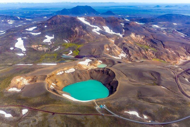 Caldera im Krafla-Vulkansystem