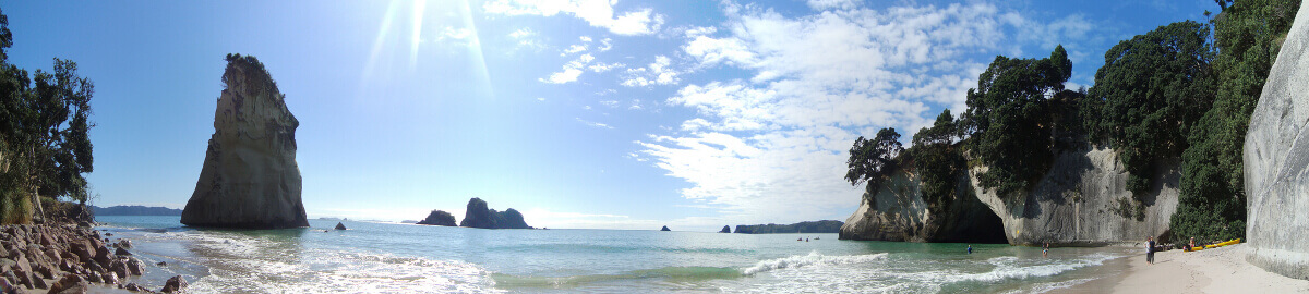 Panorama-Bild der Cathedral Cove