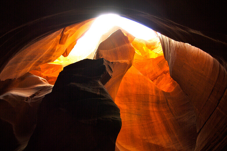 Sonnenstrahlen von oben im Antelope Canyon