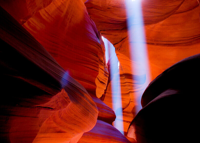 Lightbeams und Farbeffekte im Antelope Canyon