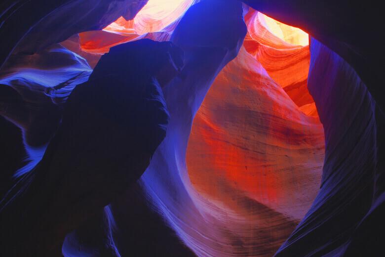 Fotogene Wände in unterschiedlichen Farben im Antelope Canyon