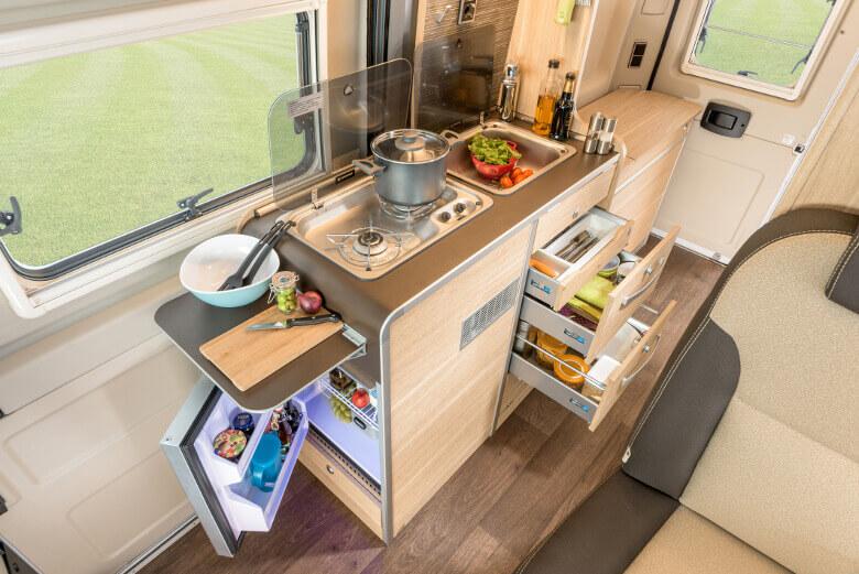 Küchenbereich im HYMER Ayers Rock
