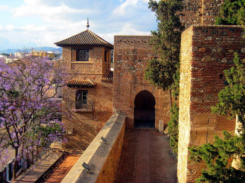 Blick von der Mauer der Alcazaba in Málaga