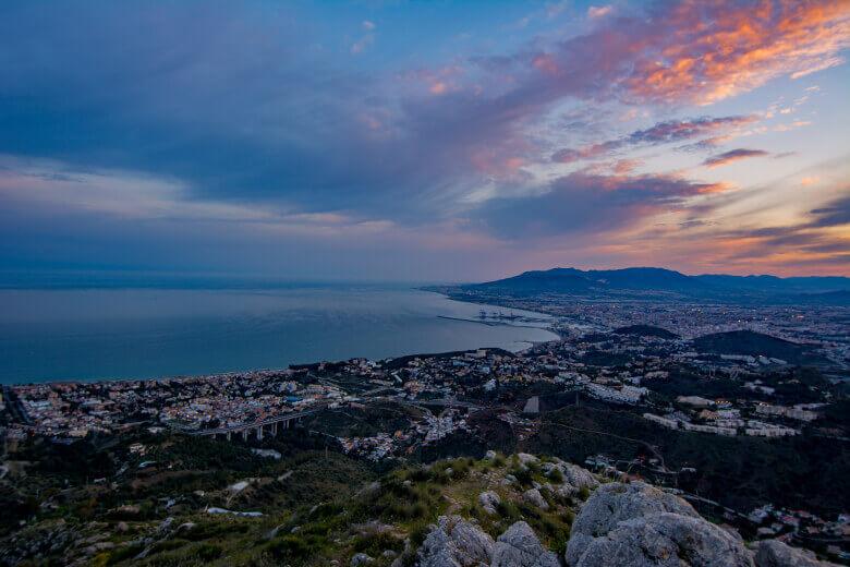Abend-Panorama von Málaga