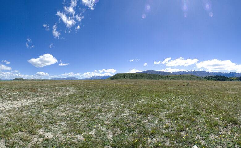 Grüne Felder im Mackenzie Country