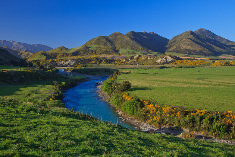 Wiesenlandschaft, Fluss und Berge in Neuseeland