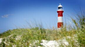 Strand mit Leuchtturm an der Ostsee