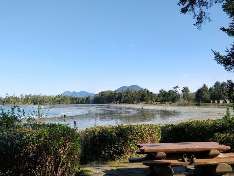 Blick vom Campingplatz auf den mackenzie Beach in Kanada