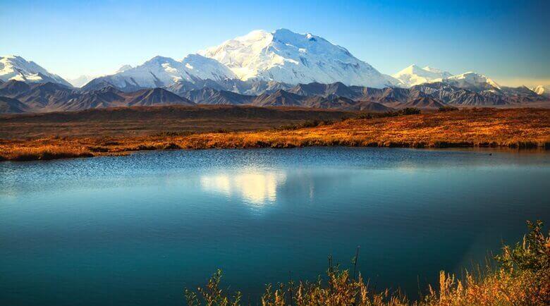 Blick auf den Denali im Nationalpark in Alaska