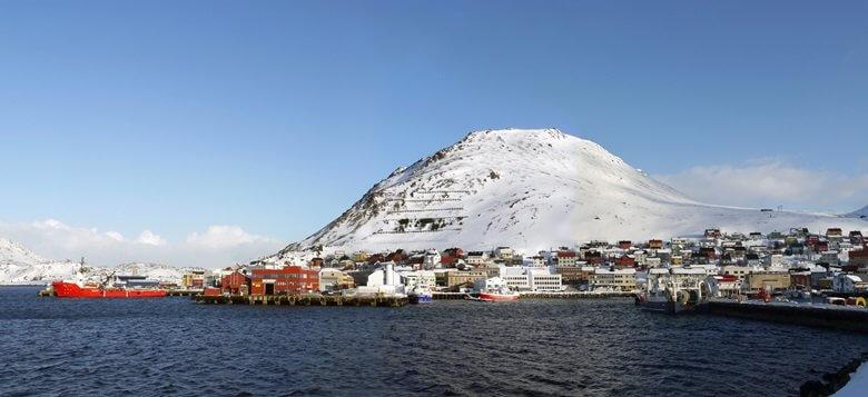 Norwegische Stadt Honningsvag im Winter