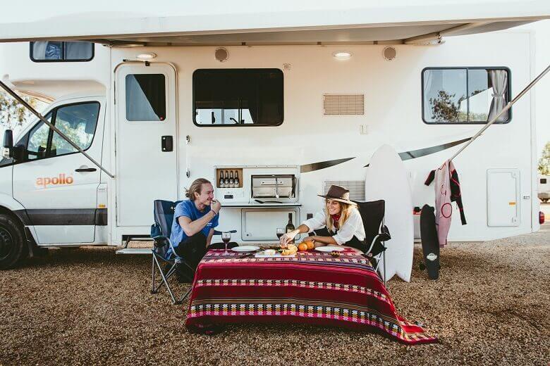 Wohnmobil-Pause auf dem Campingplatz